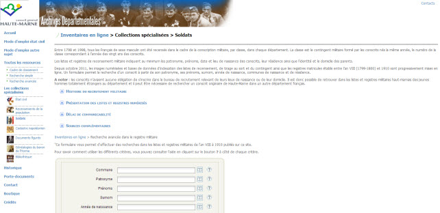 registre matricule Haute Marne