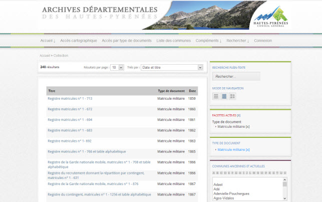 registres matricules archives 65
