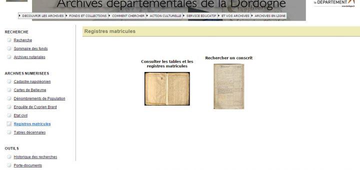 registres matricules Dordogne