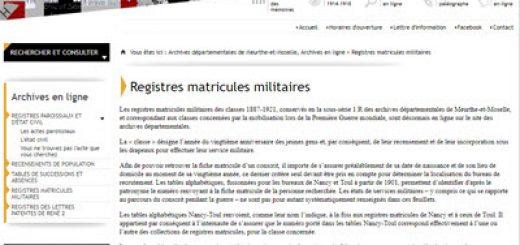registres matricules militaires de la Meurthe et Moselle