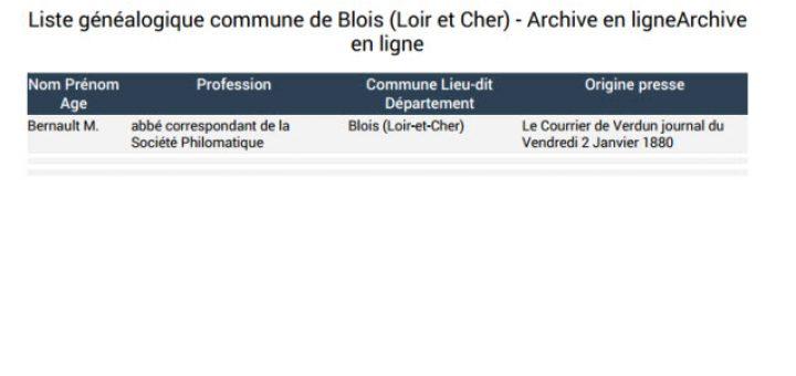 Liste généalogique Blois
