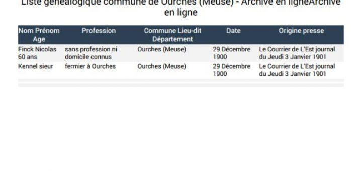 Liste généalogique commune de Ourches Meuse