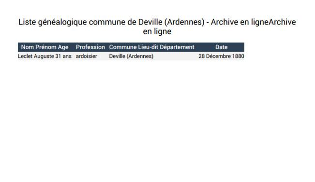 Liste généalogique commune de Deville Ardennes