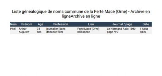 liste généalogique Ferté Macé Orne