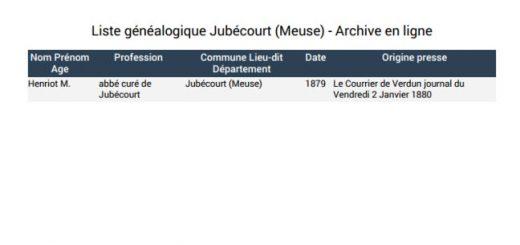liste généalogique Jubécourt