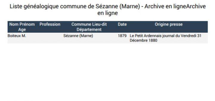 liste généalogique commune de Sézanne Marne