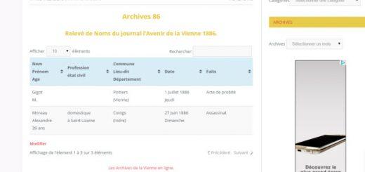 relevé de nom 1886 Vienne