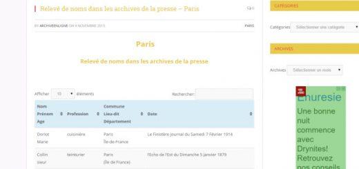relevé de noms Paris
