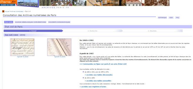 Archives de Paris, Les tables décennales de 1860 à 1974 sont en ligne.