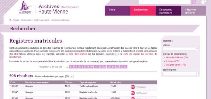 registres matricules Haute Vienne