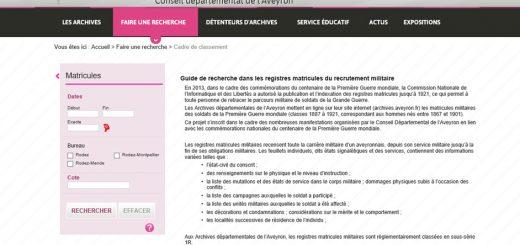 registres matricules Aveyron