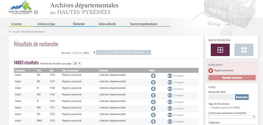 registres Hautes Pyrénées
