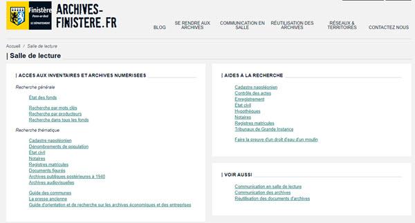 communes du Finistère en ligne, archives
