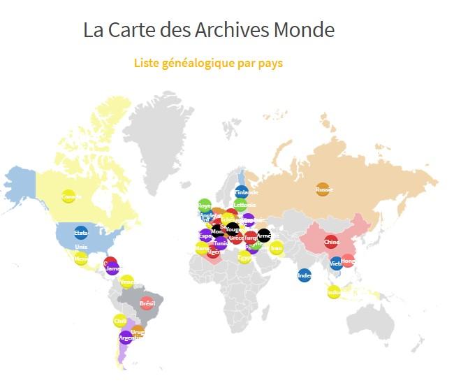 Carte Généalogie Monde